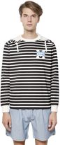 MAISON KITSUNÉ Hooded Striped Cotton Blend Sweatshirt