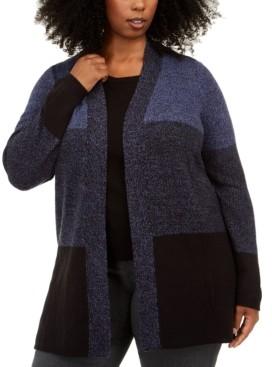 Karen Scott Plus Size Colorblocked Open-Front Cardigan, Created for Macy's
