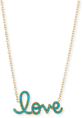 Sydney Evan XL Turquoise Love Necklace in 14K Yellow Gold