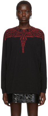 Marcelo Burlon County of Milan Black and Red Wings Long Sleeve T-Shirt