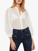 Mint Velvet Burn Out Floral Puff Sleeve Top, White/Ivory