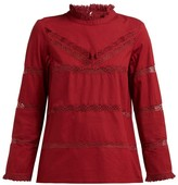 Sea Crochet-insert Cotton Blouse - Womens - Dark Pink