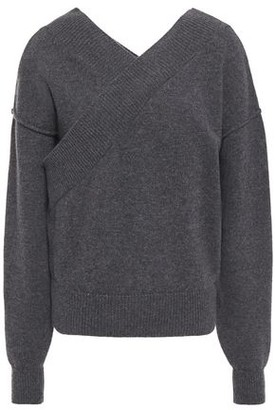 Each X Other Wrap-effect Melange Merino Wool And Cashmere-blend Sweater