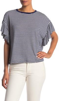 Velvet by Graham & Spencer Stripe Ruffle Sleeve T-Shirt
