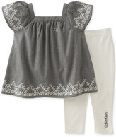 Calvin Klein 2-Pc. Embroidered Chambray Tunic & Capri Leggings Set, Baby Girls (0-24 Months)