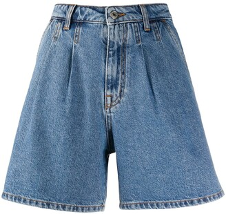 MSGM high-rise pleated A-line denim shorts