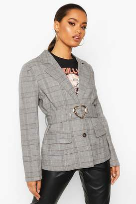 boohoo Checked Belted Blazer