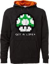 BSW Men's Get A Life 1UP Mushroom Vintage 8bit Mario Bros Hoodie 2XL Blk/Org
