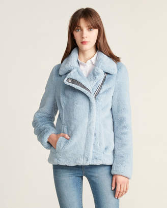 Calvin Klein Faux Fur Asymmetrical Zip Jacket
