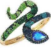 Betsey Johnson Gold-Tone Blue and Green Pavé Snake Hinged Bangle Bracelet