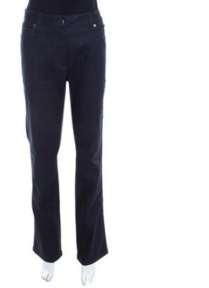 Escada Navy Blue Glitter Denim High Rise Straight Leg Jeans XL