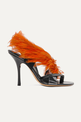 Dries Van Noten Feather-embellished Pvc And Leather Sandals - Brown