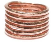 Wouters & Hendrix Women's Rose Gold Plated 925 Sterling Silver Ring with Multiple Bands - Size - N