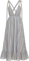 Loup Charmant Amalfi Ruffled Striped Cotton-Poplin Midi Dress