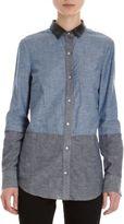 Derek Lam 10 Crosby Leather Collar Chambray Shirt