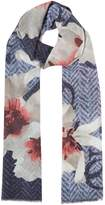GUESS Floral and Logo Print Long Scarf