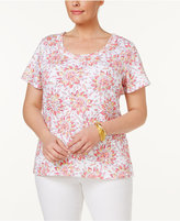 Charter Club Plus Size Cotton Floral-Print T-Shirt, Only at Macy's