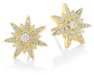 Plevé Spray Diamond & 18K Yellow Gold Starburst Earrings
