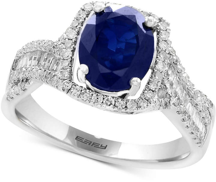 Effy Sapphire (1-9/10 ct. t.w.) & Diamond (3/8 ct. t.w.) Ring in 14k White Gold