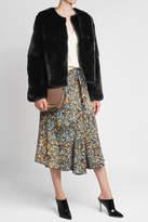 Yves Salomon Collarless Rabbit Fur Jacket