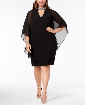 Xscape Evenings Plus Size Embellished Chiffon-Overlay Dress