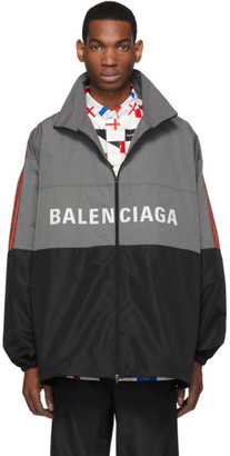Balenciaga Grey Logo Zip-Up Jacket