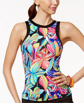 24th & Ocean Palmia Tropical-Print High-Neck Underwire Tankini Top