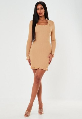 Missguided Camel Textured Frill Square Neck Knit Mini Dress