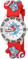 Marvel Boy's 'Captain America' Quartz Plastic and Silicone Casual Watch, Color: (Model: WMA000040)