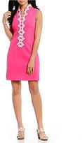 Jessica Howard Embroidered Split-Neck Sheath Dress