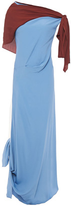 Marni Off-the-shoulder Gathered Two-tone Midi Dress