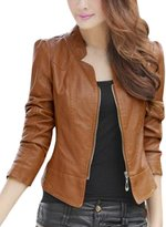 uxcell® Lady Stand Collar Long Sleeve Stylish Imitation Leather Jacket L