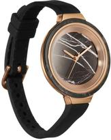 """RumbaTime Orchard """"Marble"""" Black Silicone Strap Watch"""