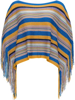 M Missoni Striped Fringed Knitted Poncho