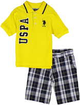 U.S. Polo Assn. Yellow Polo & Blue Plaid Shorts - Infant Toddler & Boys