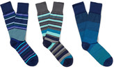 Paul Smith Three-pack Striped Stretch Cotton-blend Socks - Blue