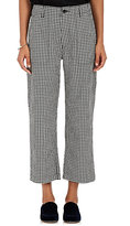 Comme des Garcons Women's Gingham Cotton-Wool Crop Pants-BLACK