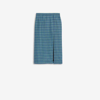 Balenciaga High Slit Skirt in blue checked virgin wool