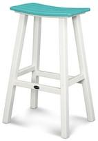 Polywood Contempo Patio Saddle Bar Stool - White Frame