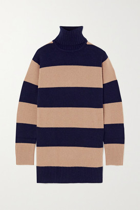 Max Mara Striped Wool And Cashmere-blend Turtleneck Sweater - Navy