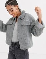 Pepe Jeans Andrea suedette trucker jacket in grey
