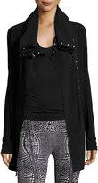 Norma Kamali Side-Snap Long Athletic Jacket, Black