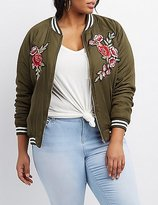 Charlotte Russe Plus Size Embroidered & Striped Bomber Jacket