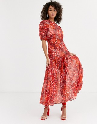 NEVER FULLY DRESSED puff sleeve midi dress in red floral print