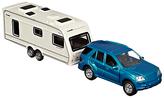 John Lewis Car and Caravan Set, Blue/White