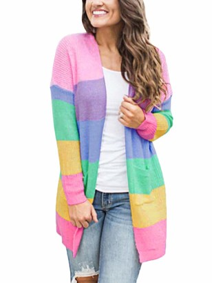 Tomwell Womens Open Front Long Sleeve Chunky Cable Knit Long Cardigans Sweater Pockets Multicoloured UK 16