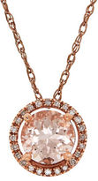 Lord & Taylor 0.72TCW Diamonds, Morganite and 14K Rose Gold Pendant Necklace