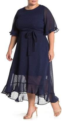 MelloDay Tie Front Lurex Chiffon Midi Dress (Plus Size)