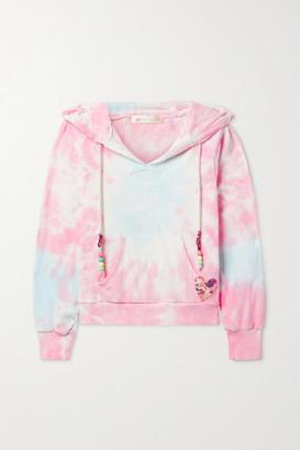 LoveShackFancy Kirby Bead-embellished Appliqued Tie-dyed Cotton-terry Hoodie - Pink