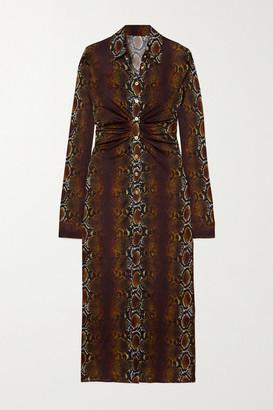 Versace Ruched Snake-print Stretch-jersey Midi Shirt Dress - Brown